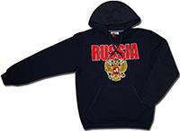 Толстовка с капюшоном Россия темно-синяя 2